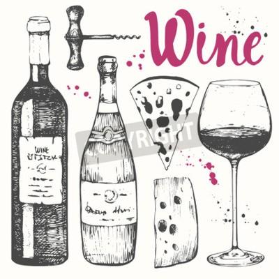 Fototapeta Vektorové ilustrace s sklenice na víno, vývrtka, láhev, šampaňské, sýr. Klasická alkoholický nápoj.
