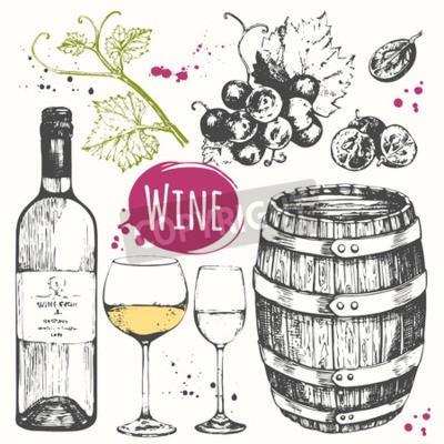 Fototapeta Vektorové ilustrace se sudem, sklenice na víno, hrozny, hroznové větvičku. Klasická alkoholický nápoj.