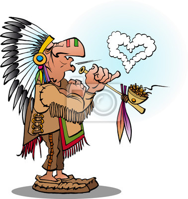 Vektorove Kreslene Ilustrace Indianskeho Nacelnika Kouril Dymku