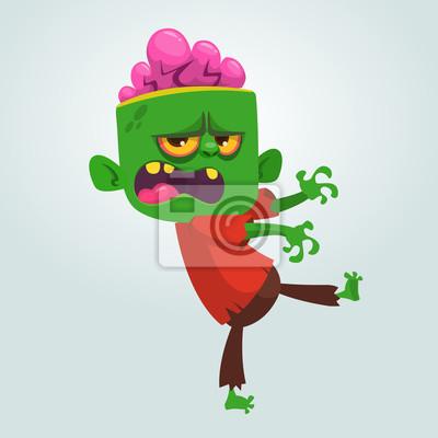 Vektorove Kreslene Obraz Legracni Zelene Zombie S Velkou Hlavou