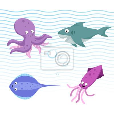 Vektorove Kreslene Ruzne More A Ocean Zvirata Set Izolovane
