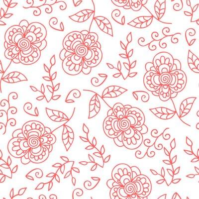 Fototapeta Vektorové květiny a listí bezproblémové vzor. Doodle roztomilý květiny.