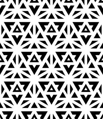 Fototapeta Vektorové moderní bezešvé vzor posvátné geometrie, černá a bílá textilní tisk, abstraktní textury, monochromatický módní design