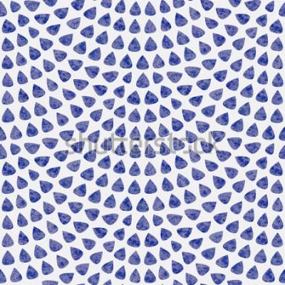 Fototapeta Vektorové potřebné vzorky s rybí rozložení. Modré prvky ve tvaru kapky s akvarelu na světlé pozadí