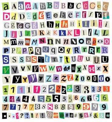 Fototapeta Vektorové Ransom Note-Cut papírové dopisy, čísla, symboly