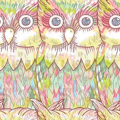 Fototapeta Vektorové sova bezešvé vzor. Abstraktní roztomilý ptáček pozadí.