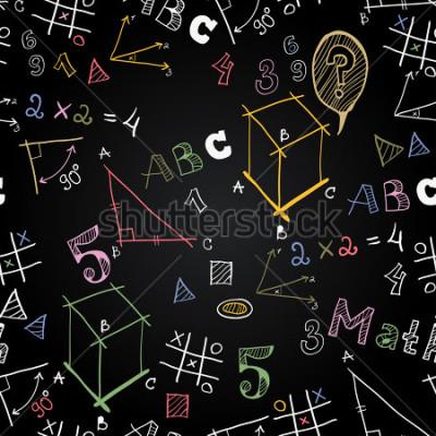 Fototapeta Vektorové tabulky školní levné vzor. Zpátky do školy. Legrační obrázky křída na stole. Ikony výchovy a školního života.