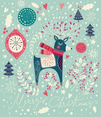 Fototapeta Vektorové vánoční ilustrace s rozkošný jelenů
