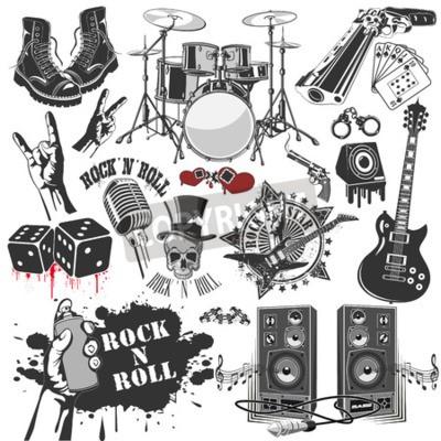 Fototapeta Vektorový obraz sady vektorových symbolů souvisejících s rock and roll