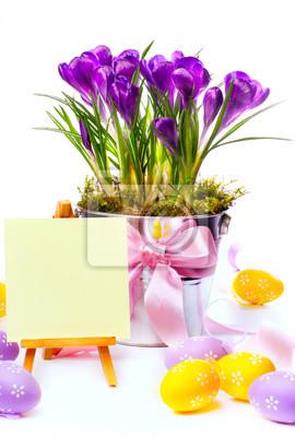 Velikonoční přání s vejci a jarní květiny