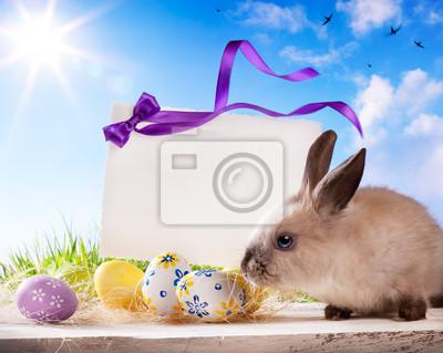 Velikonoční přání s velikonoční zajíček a velikonoční vajíčka