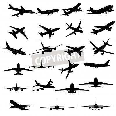 Fototapeta Velká sbírka různých siluety letounu.