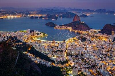 Fototapeta Velkolepý letecký pohled na Rio de Janeiro při pohledu z Corcovado. Slavný Hora Cukrová homole hole z zátoku Guanabara