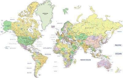 Fototapeta Velmi podrobné Politická mapa světa s značení.
