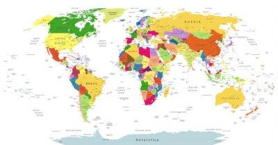 Fototapeta Velmi podrobné Politická World Map Na Bílém