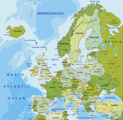 Fototapeta Velmi podrobné upravitelné politickou mapu.