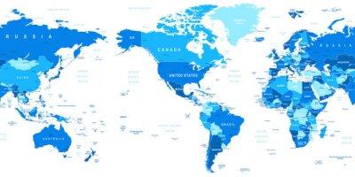 Fototapeta Velmi podrobné vektorové ilustrace světové mapy.