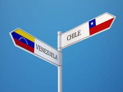 Venezuela Chile Znamení Vlajky Concept