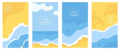 Fototapeta Vertical banners and background for social media stories with copy space for text. Summer sunny landscape with beach, sea, ocean and seaside waves. Summer vacation or tourist agency background.