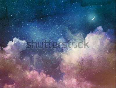Fototapeta Vesmír plný hvězd a Měsíce. vodové barvy