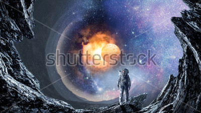 Fototapeta Vesmírná díra astronaut. Smíšená média