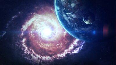 Fototapeta Vesmíru scéna s planety, hvězdy a galaxie ve vesmíru ukazují krásu vesmíru. Prvky zařízený NASA