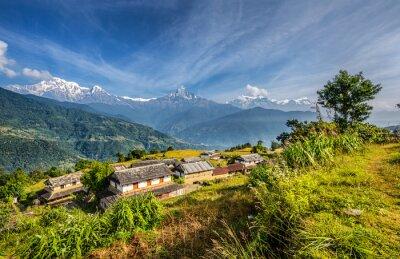 Fototapeta Vesnice v horách v Nepálu Himalaya
