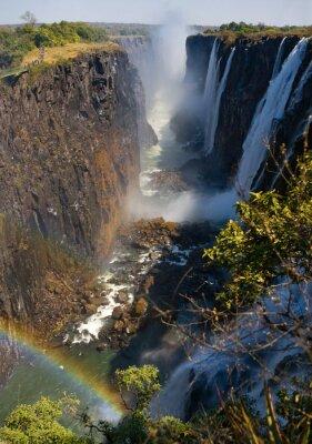 Fototapeta Victoria Falls. Obecný pohled na duhu. Národní park. Mosi-oa-Tunya Národní park. a světového dědictví UNESCO. Zambiya. Zimbabwe. Vynikající ukázkou.