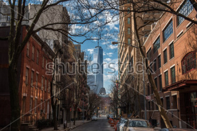 Fototapeta View of One World Trade Center from Soho in New York City on a warm winter morning