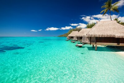 Fototapeta Vily na tropické pláži s kroky do vody