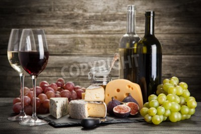 Fototapeta Víno a sýry zátiší