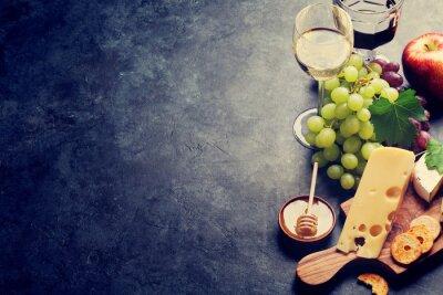 Fototapeta Víno, hroznový, sýr a med