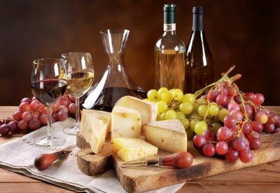 Fototapeta Víno, hrozny a sýrem