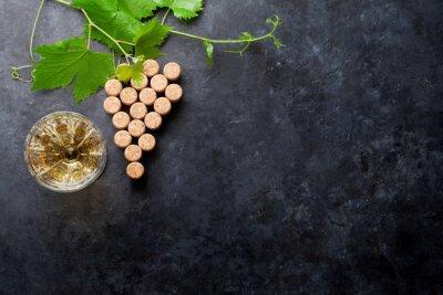 Fototapeta Víno korky hroznové tvar a vinné révy