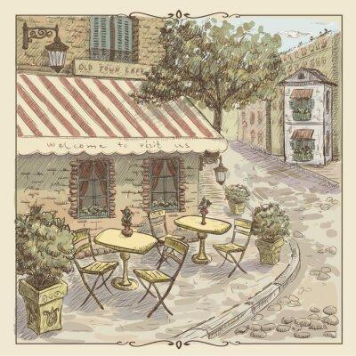 Fototapeta Vintage akvarel ilustrace pouliční kavárny na Starém Městě