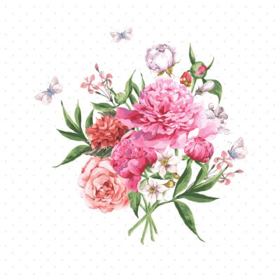 Fototapeta Vintage Akvarel Přání s kvetoucí květiny a