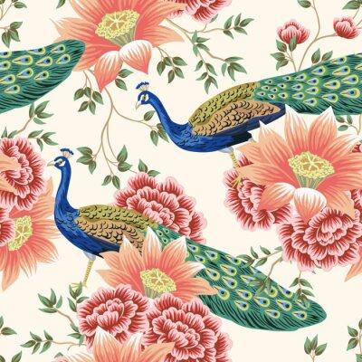 Fototapeta Vintage Chinese flower lotus rose, leaves, peacock bird seamless border pink background. Exotic oriental wallpaper.