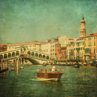 Fototapeta Vintage image of Grand Canal, Benátky