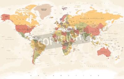 Fototapeta Vintage Mapa Světa - Podrobné Vektorové Ilustrace