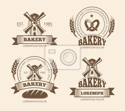 Fototapeta Vintage pekárna a pekařský obchod loga etikety odznaky emblémy.  Pekárna logo pro obchod 39795c157a