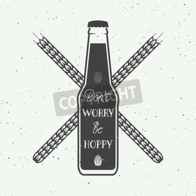 Fototapeta Vintage pivo logo s ruční písmo zábavné motivační citát