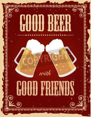 Fototapeta Vintage pivo plakát s grunge účinky.