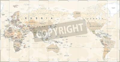 Fototapeta Vintage politická mapa světa Tichý oceán - vektor.