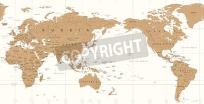 Fototapeta Vintage politický svět mapa pacific střed vektorové ikony.