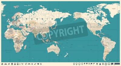 Fototapeta Vintage politický svět mapa Pacifik střed - vektor.