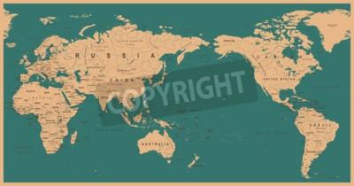 Fototapeta Vintage politický svět mapa Pacifik střed - vektor