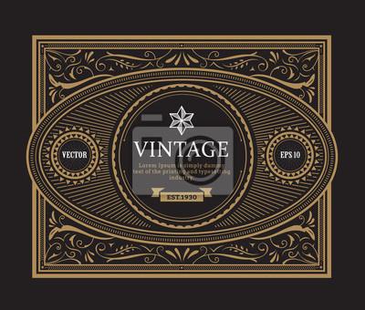 Vintage Ramecek Starozitny Ram Whisky Stitek Rucne Kresleny Ryte