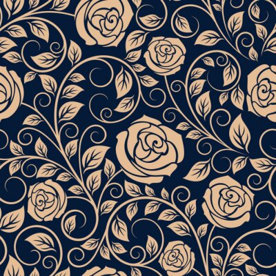 Fototapeta Vintage růže květiny bezešvé vzor