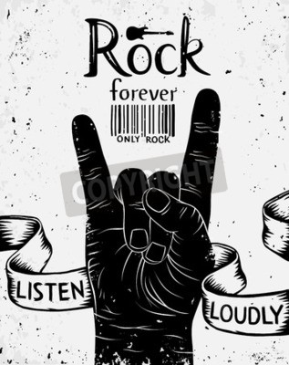 Fototapeta Vintage štítek s rockem navždy. Rock and Roll straně znak
