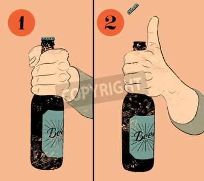 Fototapeta Vintage styl grunge pivo plakát. Humorné plakát pokyn k otevření láhev piva. Ruka drží láhev piva. Vektorové ilustrace.